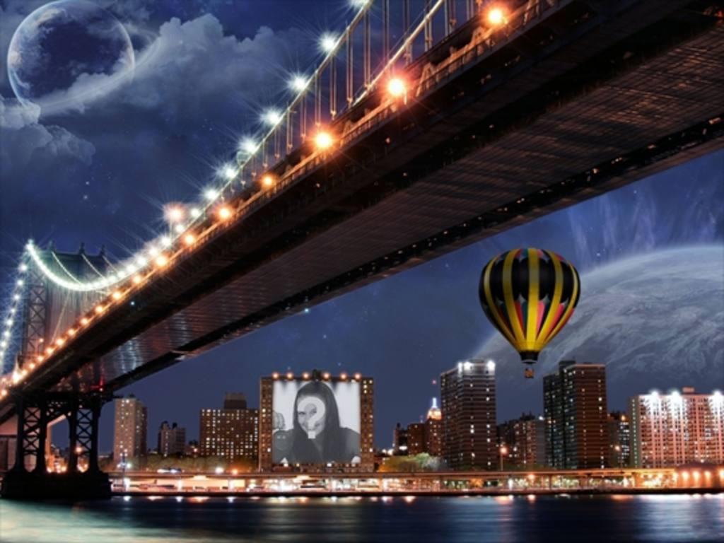 Photomontage sur une affiche dun bâtiment à côté dun ballon et dun pont
