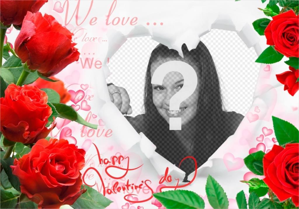Cadre romantique avec des roses et un coeur pour insérer vos photos