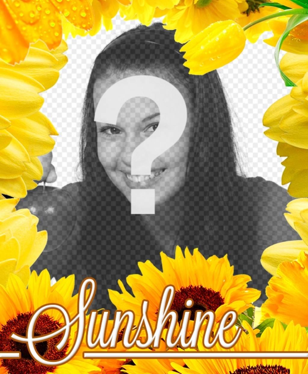 Cadre photo faite de fleurs jaunes, comme les tulipes et tournesols pour mettre votre photo de fond