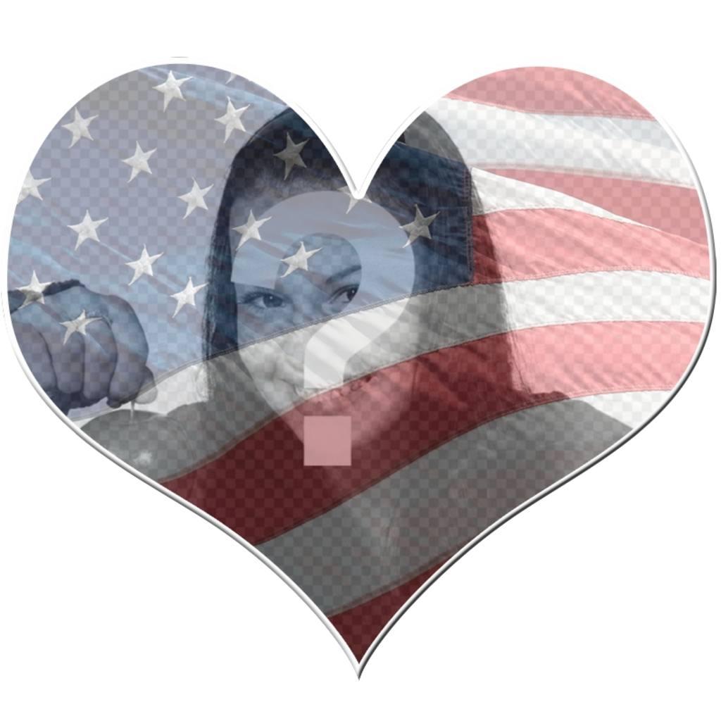 Cadre en forme de coeur avec le drapeau Etats-Unis