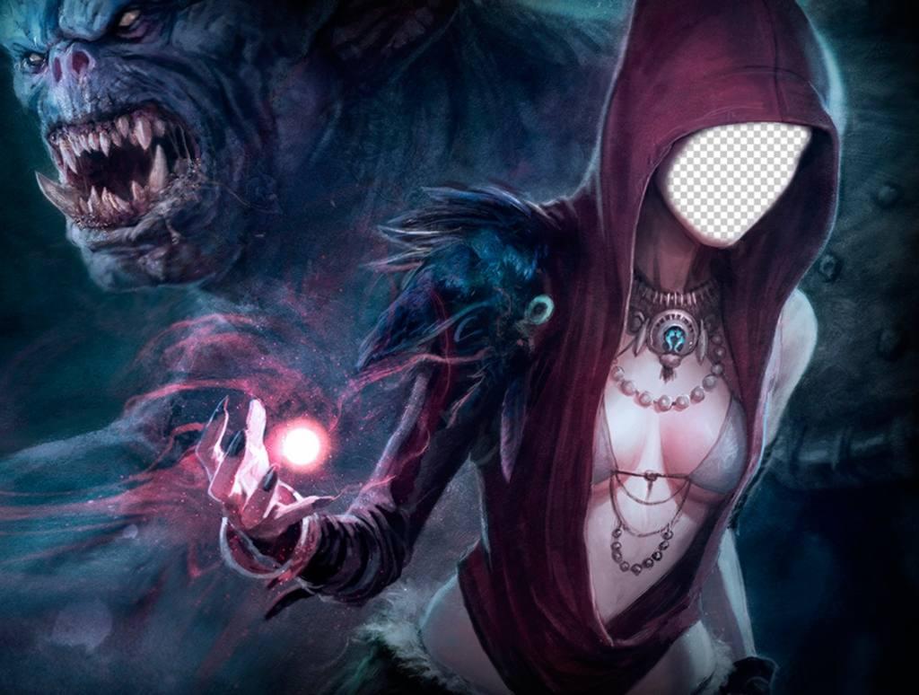 Effet photo personnifier une sorcière lancer un sort