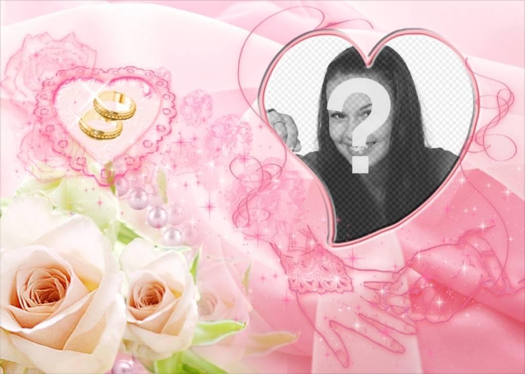 Cadre photo en forme de coeur comprend deux roses jaunes for Envoyer des roses