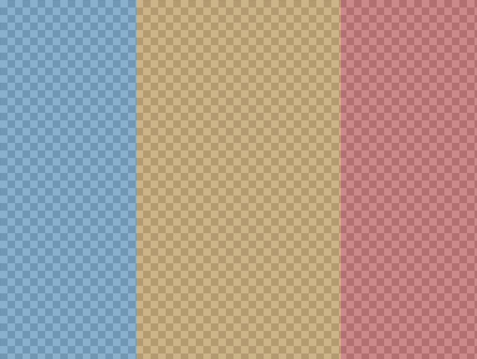 Collage de trois photos avec trois couleurs différentes: bleu, jaune et rouge