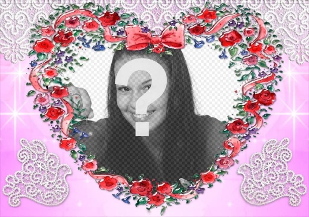 Cadre photo faite avec des roses fond en forme de coeur for Envoyer des roses