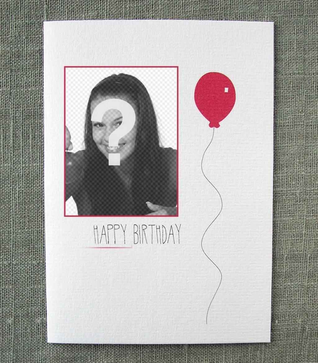 Carte postale danniversaire simple avec un ballon rouge avec votre photo