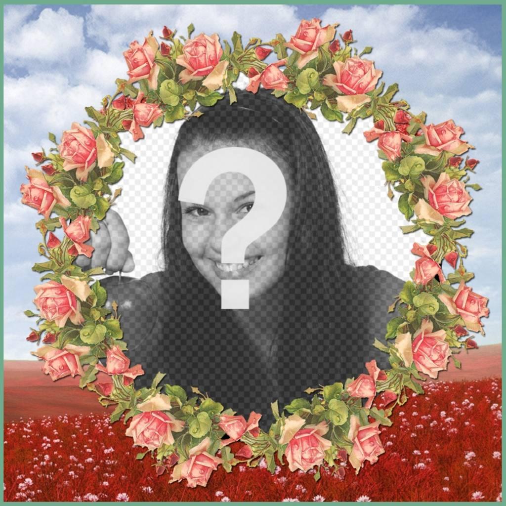 Cadre photo avec une illustration de fleurs roses pour vos photos