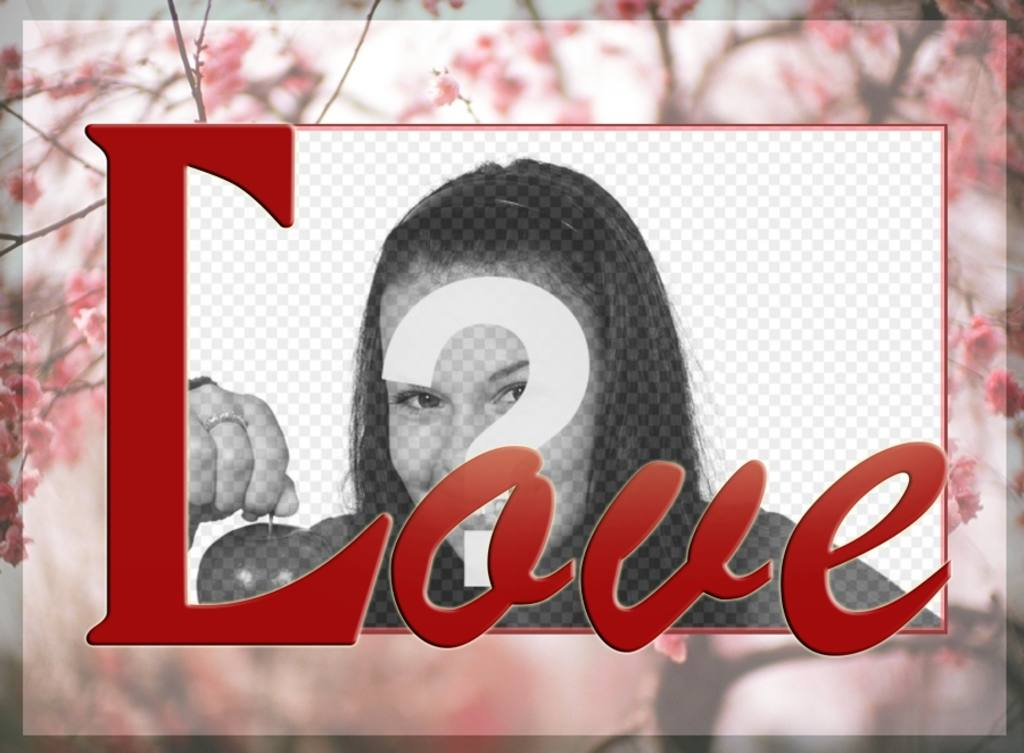 Cadrez votre photo sur un fond de fleurs de cerisier et le mot LOVE