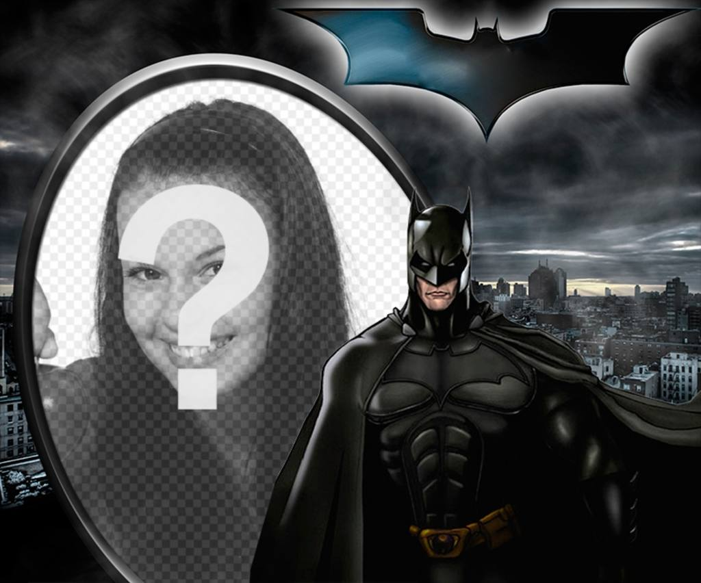 Collage ilutstrado Batman, The Dark Knight, se détachant sur Gotham