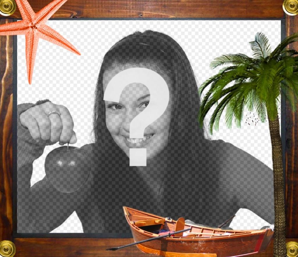 Cadre de mer détoiles de mer, un bateau et un palmier encadrée en bois