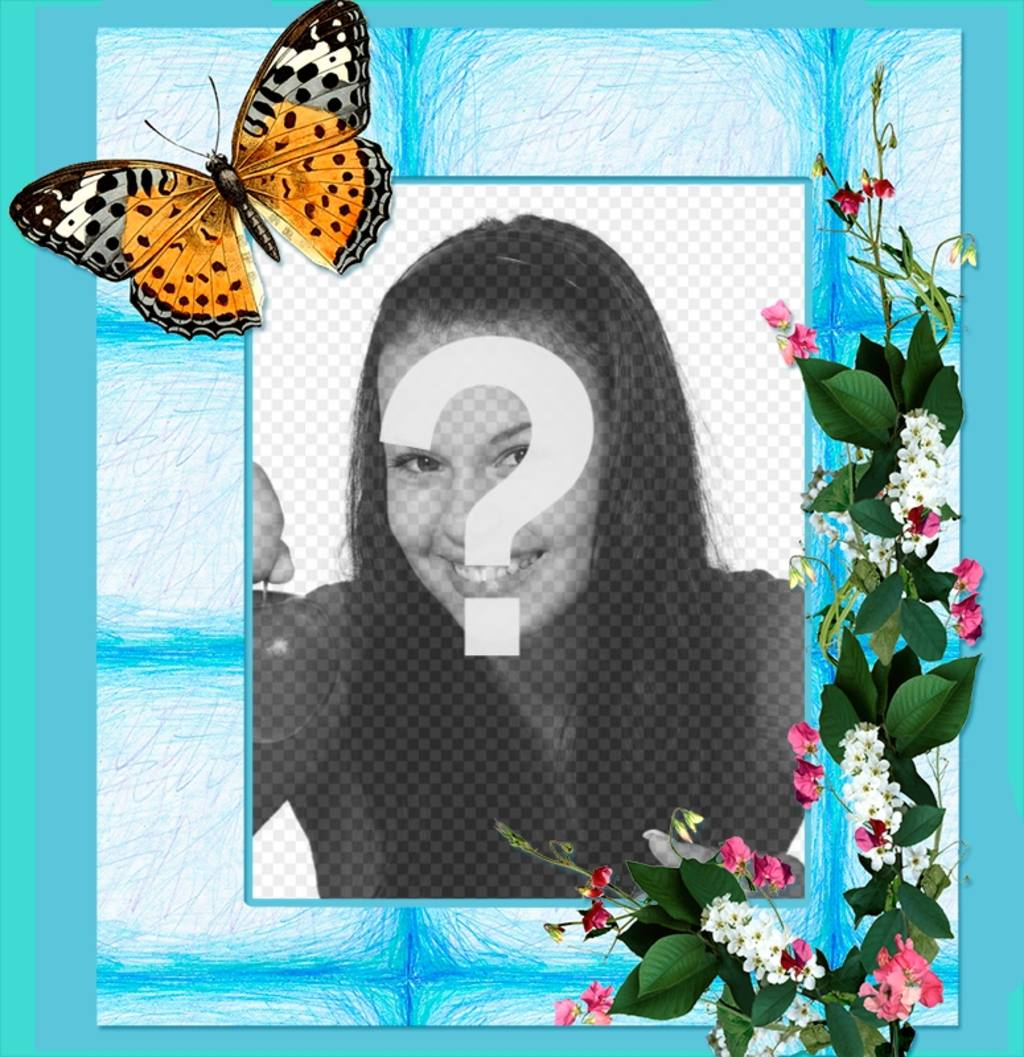 Cadrer votre photo avec des fleurs et des papillons sur un fond bleu