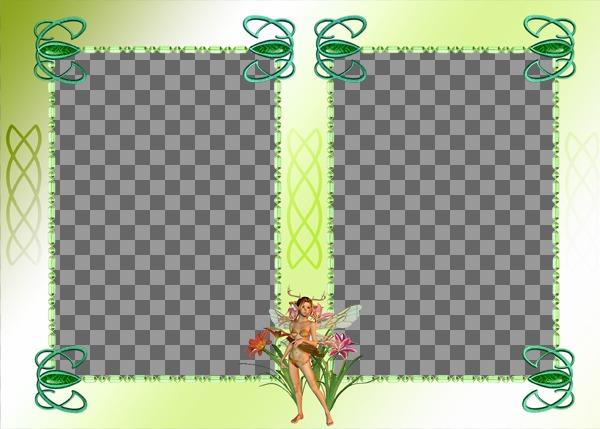 Cadre photo avec deux photos, ornement féerique et un fond vert