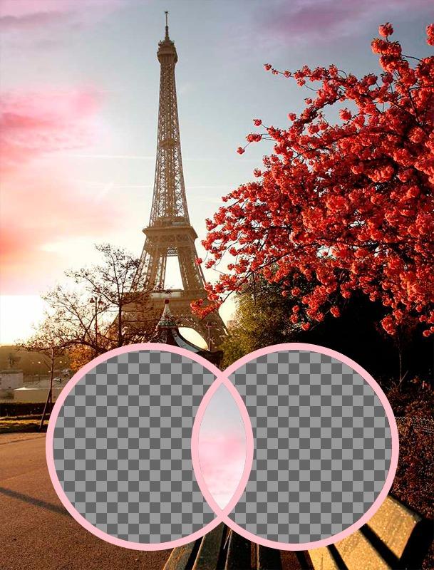 Photomontage romantique avec la Tour Eiffel