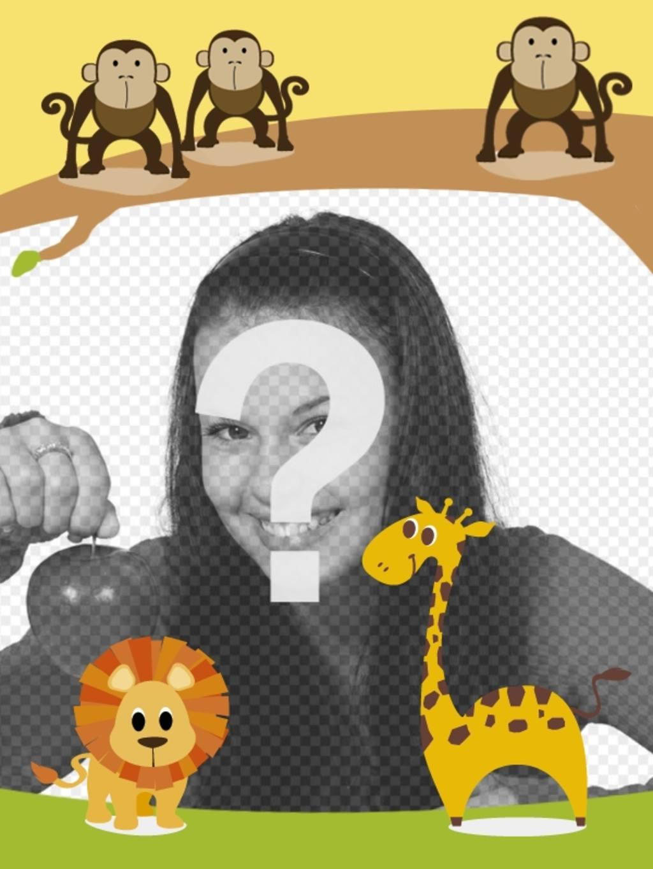 Enfants encadrent avec des animaux à personnaliser avec votre photo