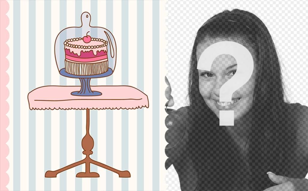 Carte virtuelle danniversaire avec le dessin dun gâteau