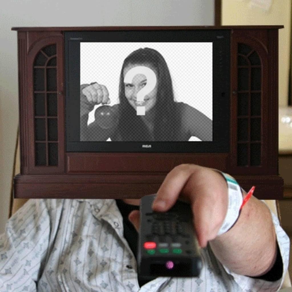 """Animation pour faire votre propre photo, dans lequel un serras la télévision s""""éteint et se rallume"""