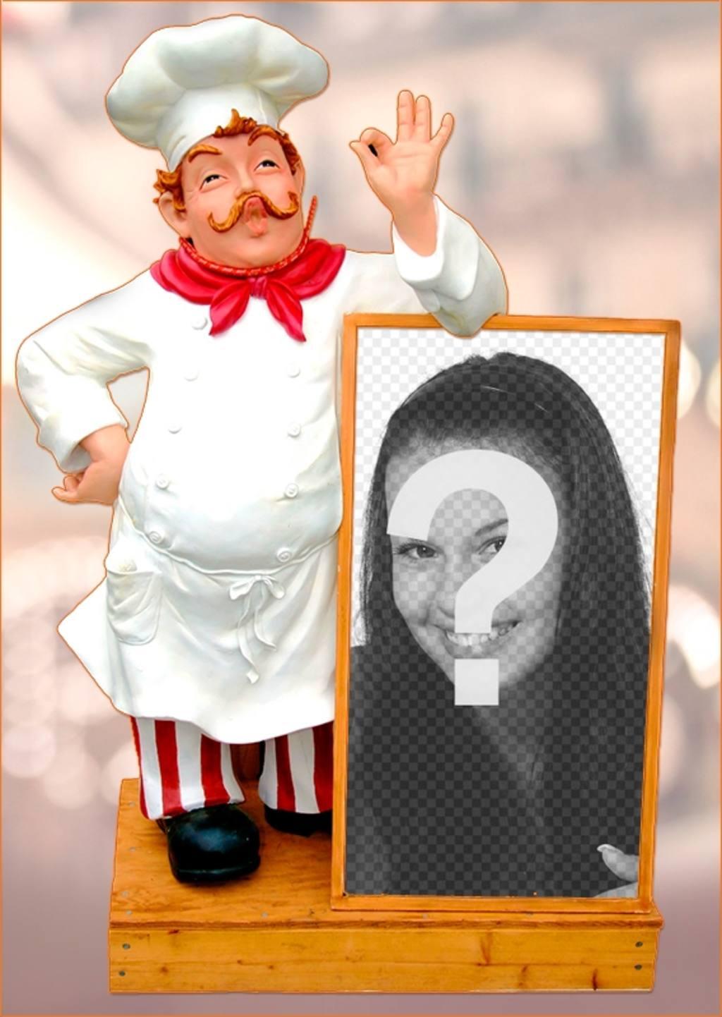 Mettez votre photo sur un menu de restaurant accompagné par un chef