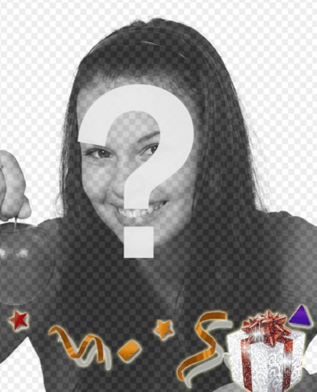 """Postal d""""anniversaire de voeux personnalisée, modèle du parti, avec un cadeau lumières"""