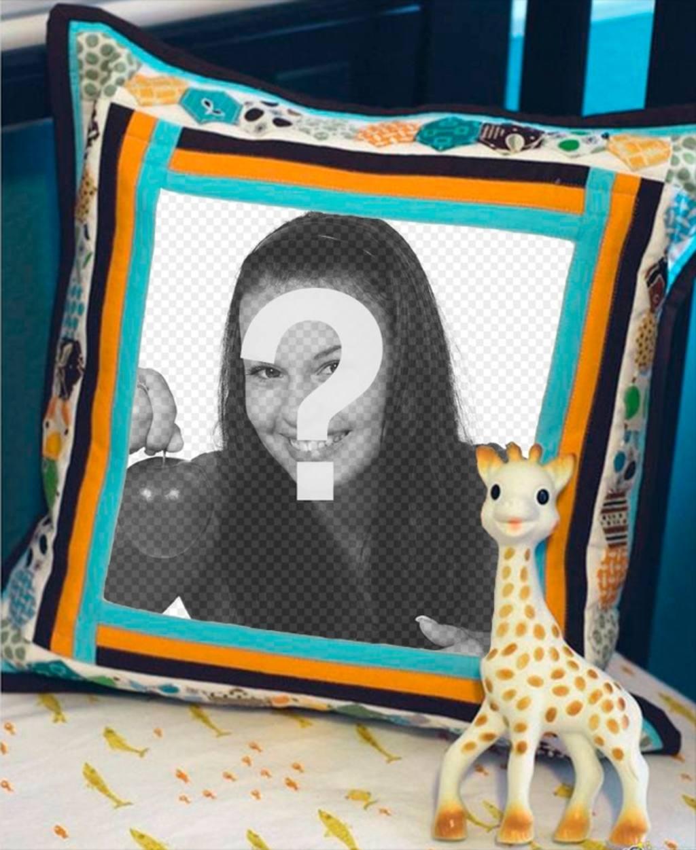 mettez votre photo sur un coussin c t dune girafe en peluche photoeffets. Black Bedroom Furniture Sets. Home Design Ideas