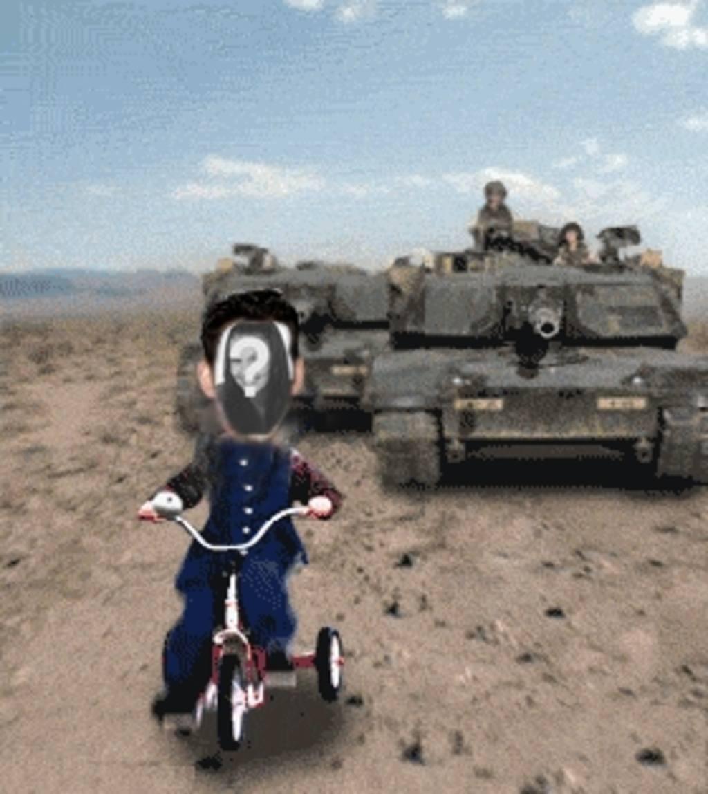 """Personnaliser l""""animation de Saddam Hussein poursuivi par un réservoir"""