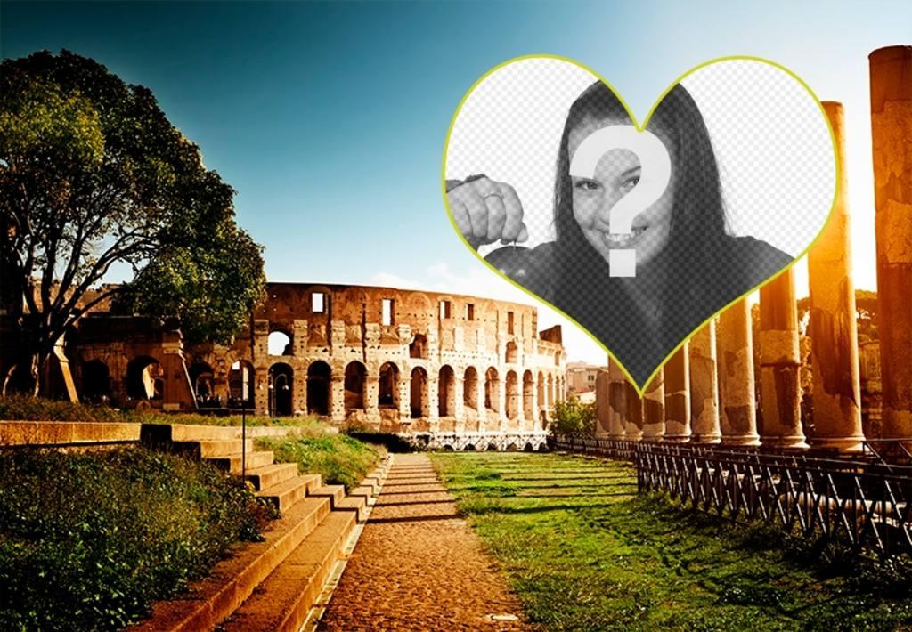Carte postale avec un fond de lamphithéâtre à Rome pour votre photo
