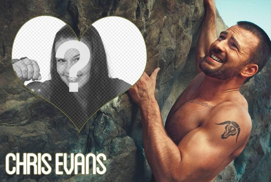 Cadre photo avec Chris Evans escalade