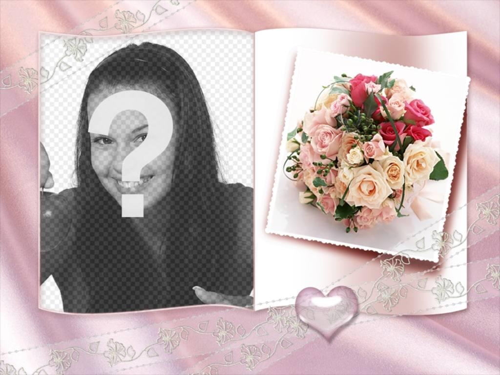 """Cadre photo avec un livre et peu de coeur, de roses et d""""un centre d""""ornement"""