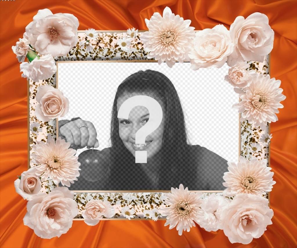 Cadre photo avec des fleurs blanches et un tissu