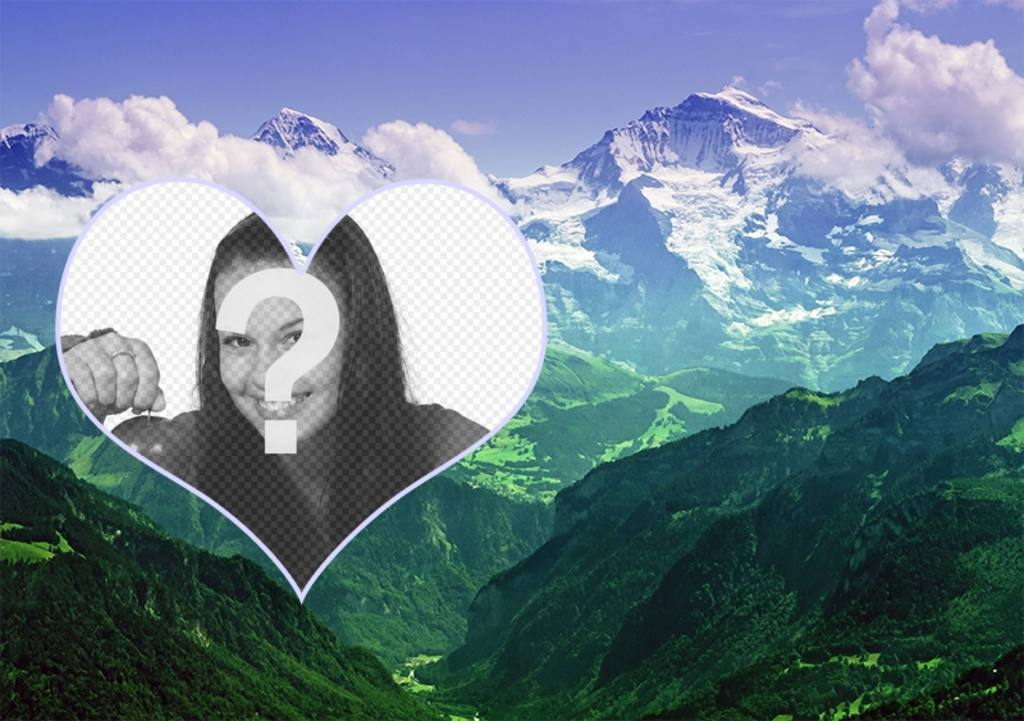 Collage de mettre votre photo dans un paysage de montagnes