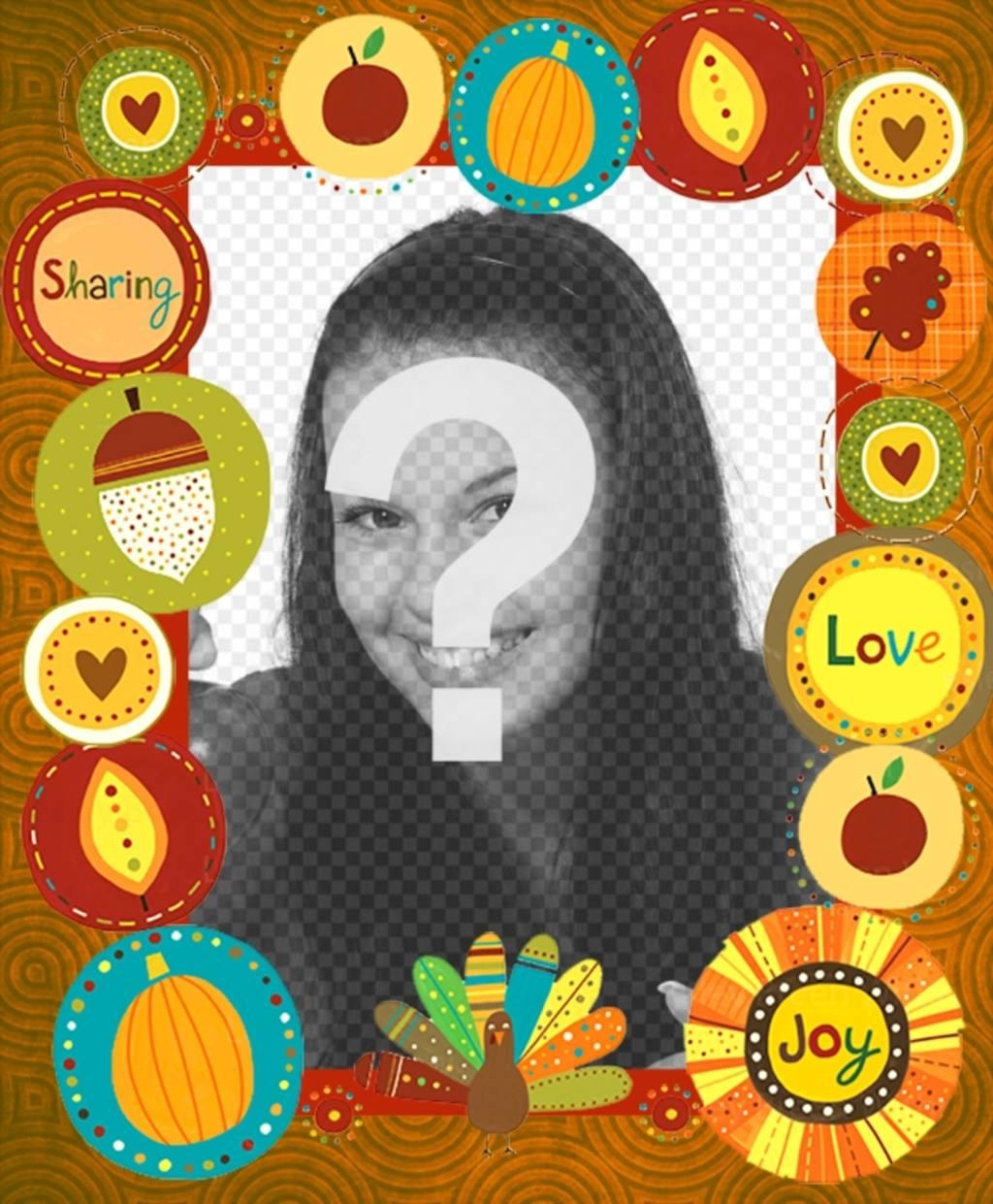 Cadre photo avec des stickers décoratifs de Thanksgiving