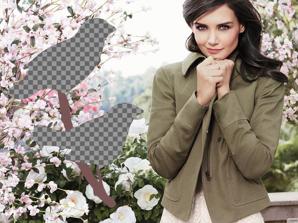 Collage de deux photos avec lactrice Katie Holmes