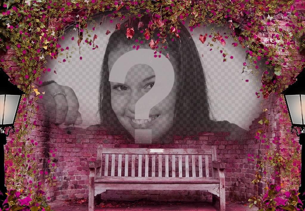 Photomontage rose pour mettre votre photo sur un banc photoeffets - Faire l amour sur un banc ...