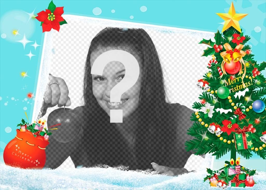 Carte bleue de Noël avec un arbre décoré