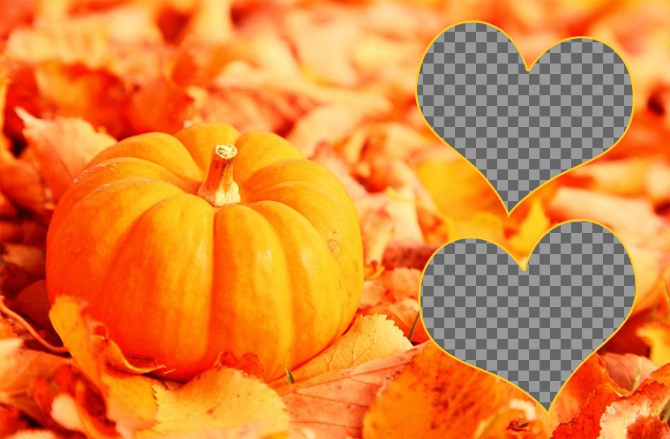 Collage pour deux photos avec une citrouille et la chute des feuilles