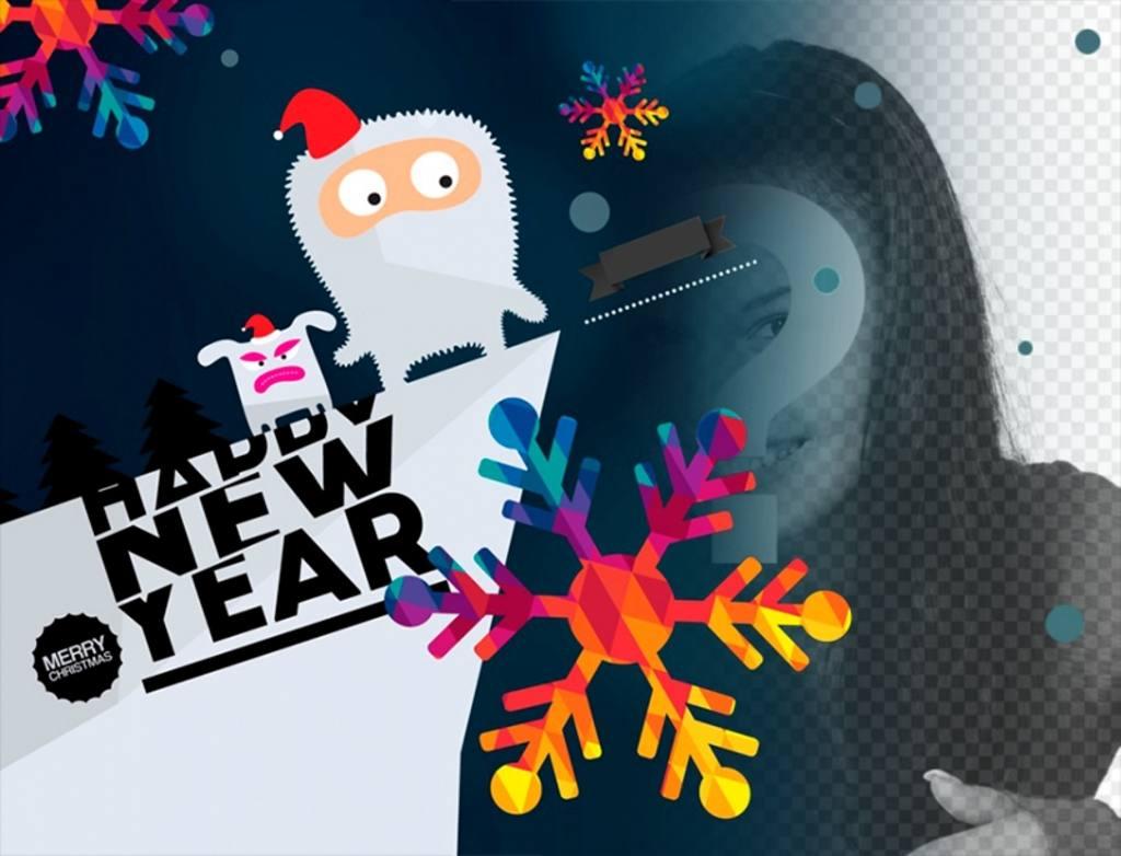 Photomontage de dessin pour féliciter la nouvelle année