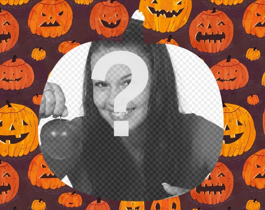 Cadre photo de Halloween avec votre photo comme dautres de citrouille en forme de