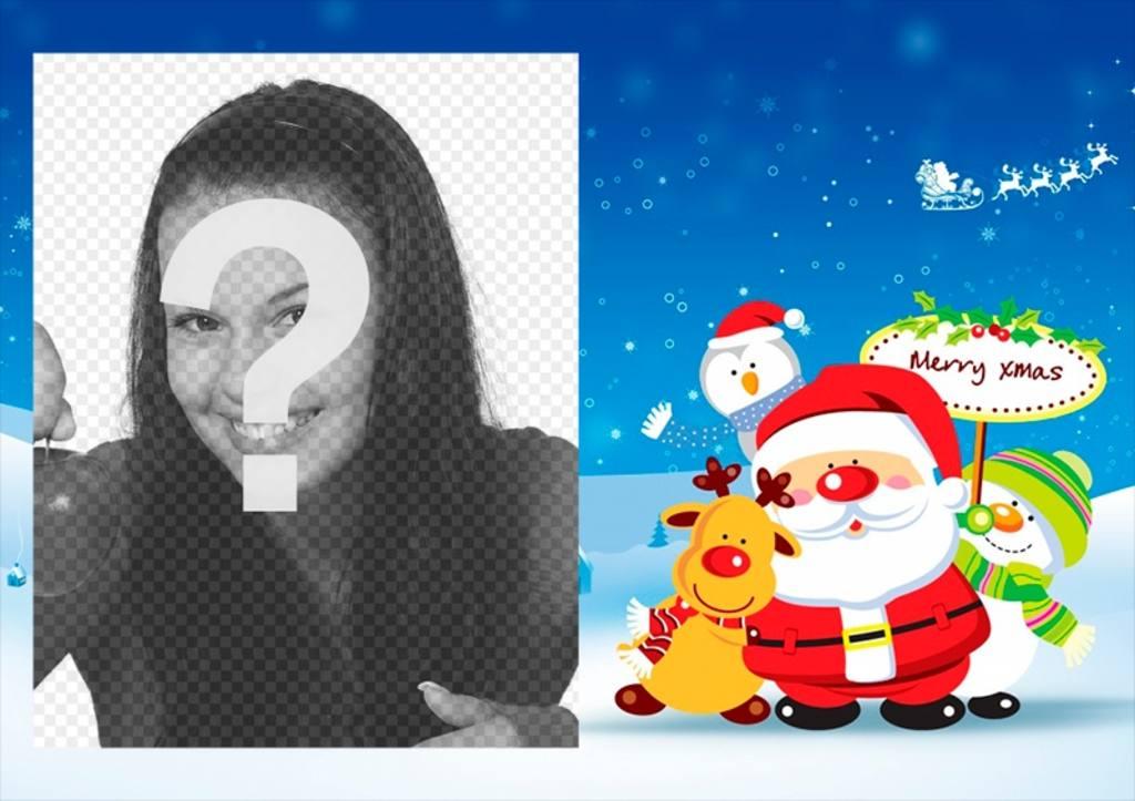 Cadre de photo de Noël de modifier en ligne