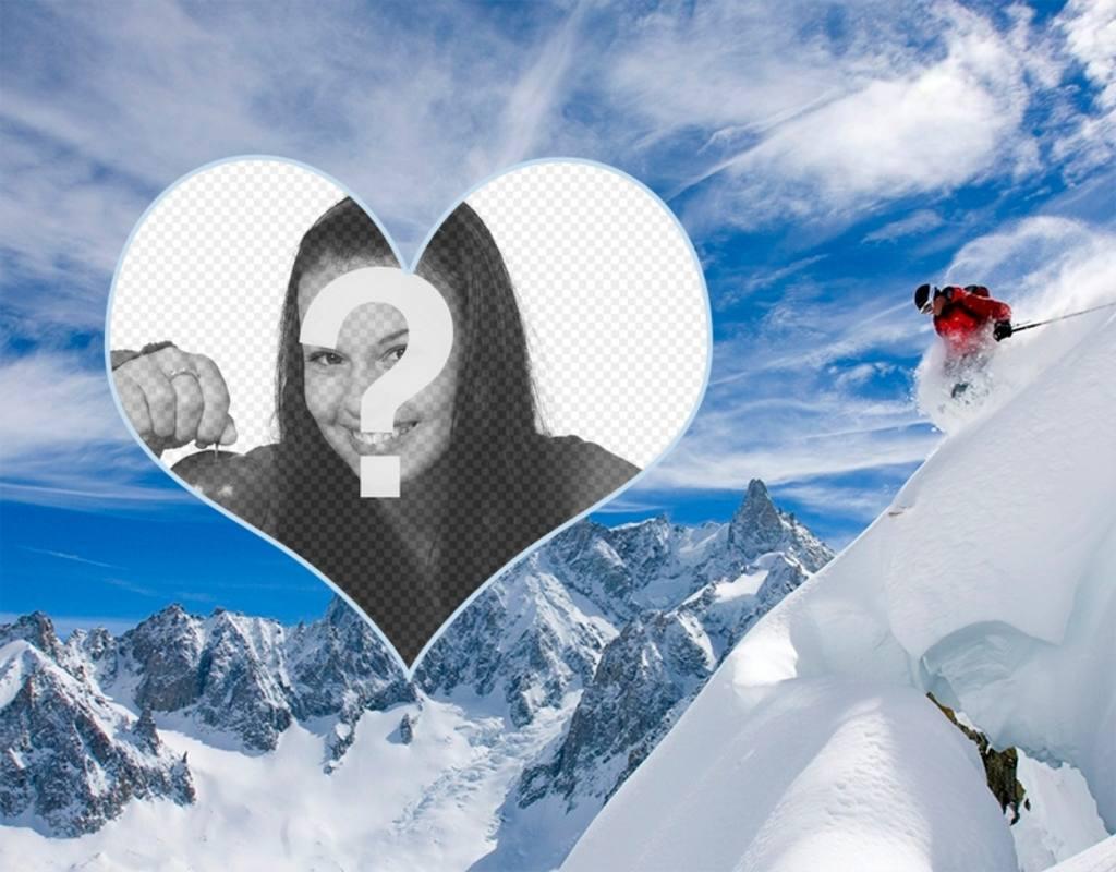 Cadre photo dun skieur de mettre votre photo dans un cœur