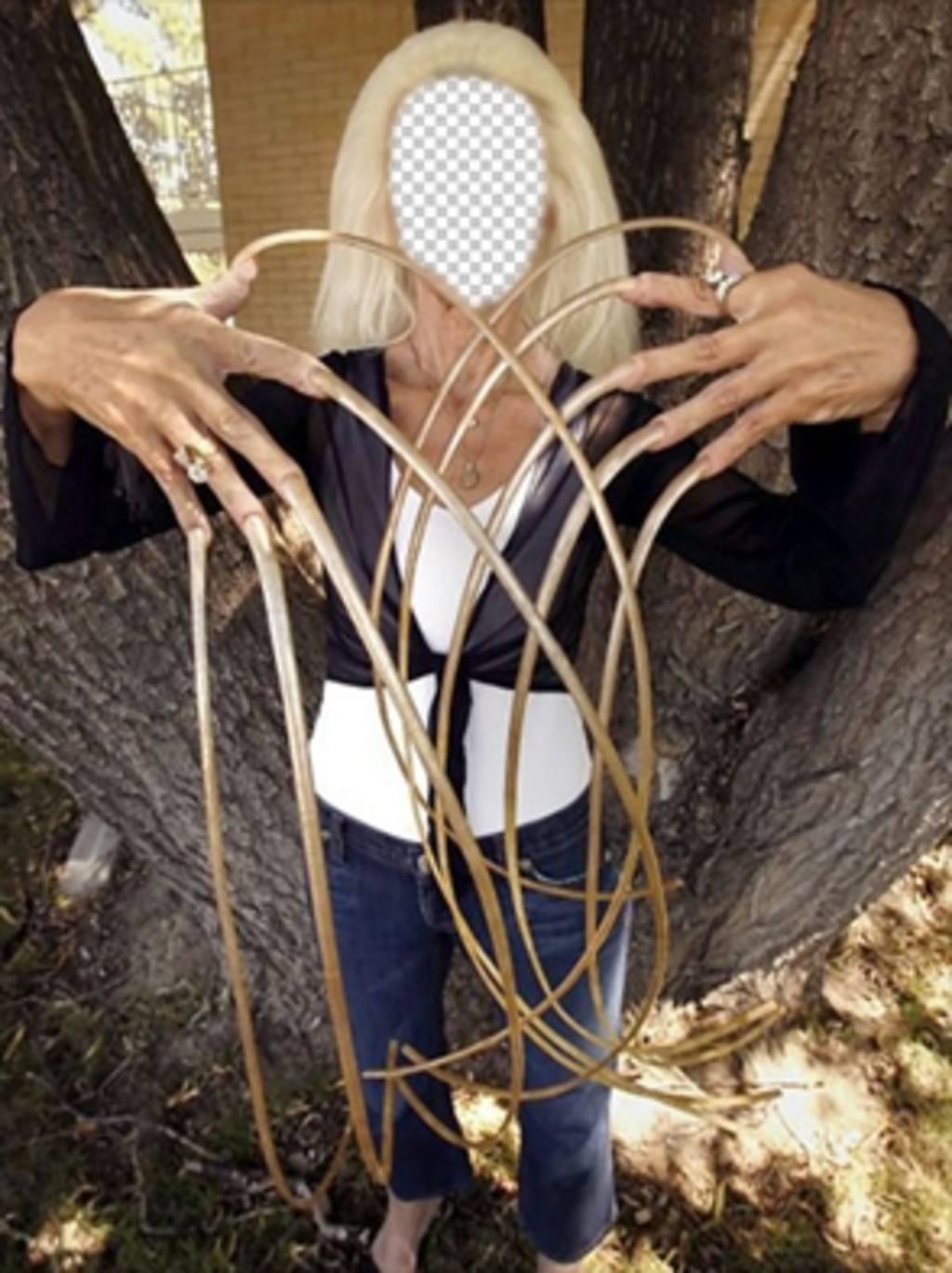 Photomontage de la femme avec les plus longs ongles dans le monde