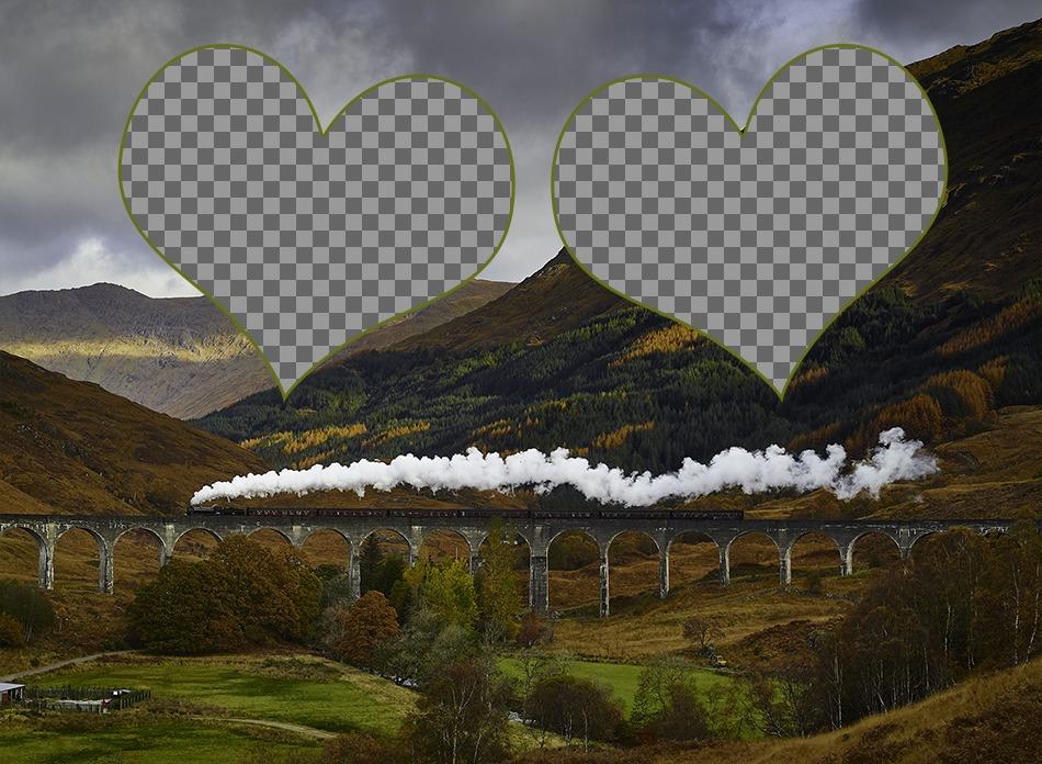Carte postale pour deux photos avec une image dun pont à lautomne