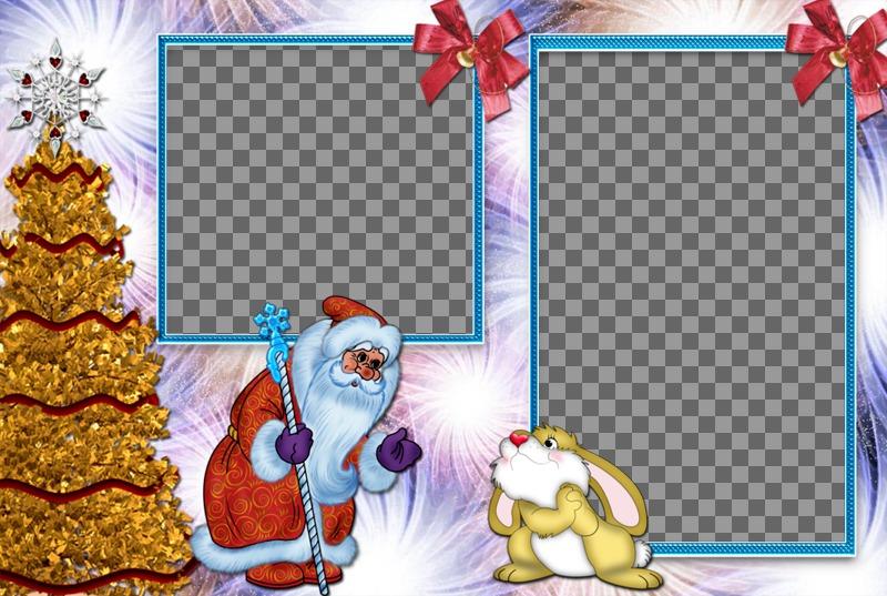 Collage de Noël des enfants pour deux photos