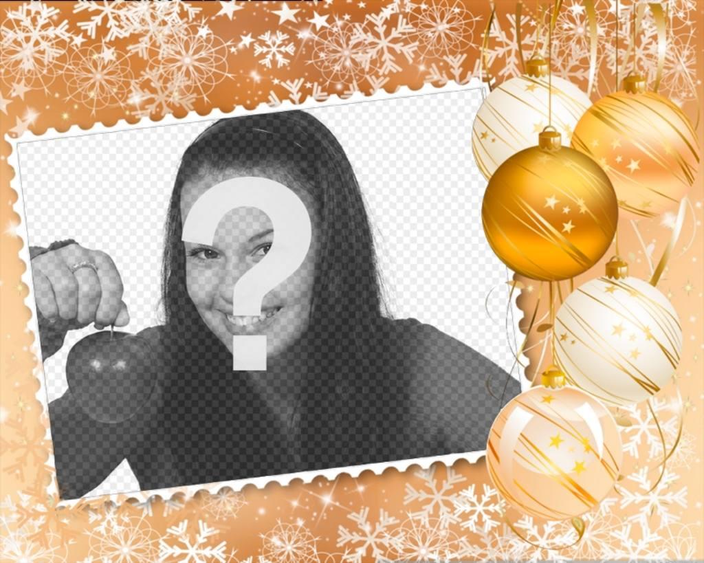 Mettez votre image dans un cadre décoré avec des décorations de Noël