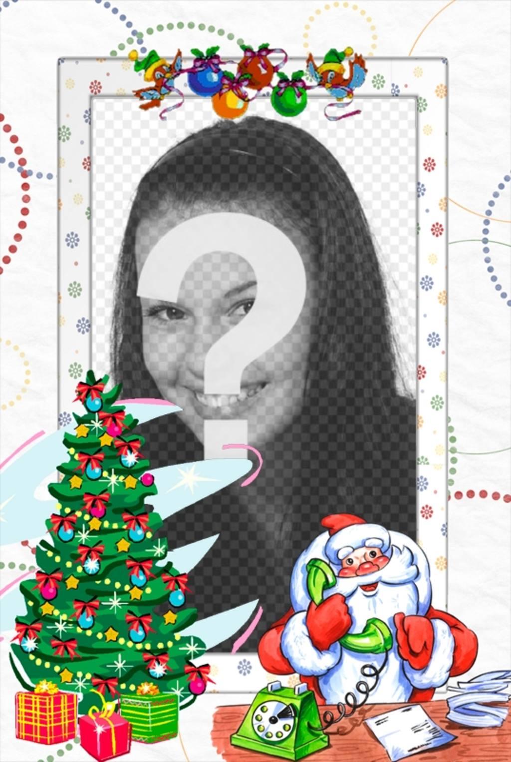 Cadre photo avec le Père Noël pour mettre votre photo avec lui. décoré