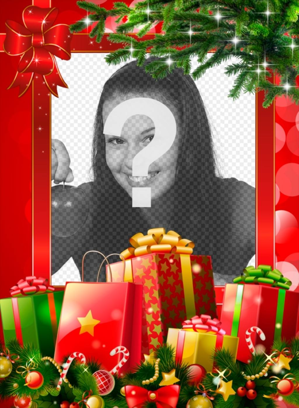 Cadre de Noël avec de nombreux cadeaux à personnaliser avec votre photo