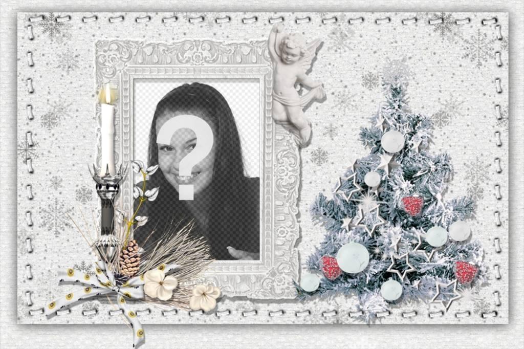 Carte de Noël à personnaliser avec votre photo, un arbre et une bougie