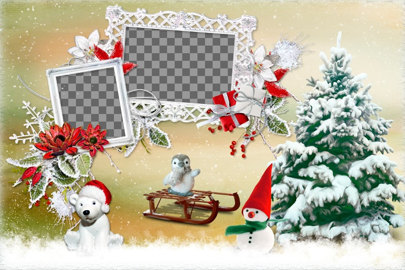 Collage de Noël avec deux photo à côté dun arbre et divers animaux
