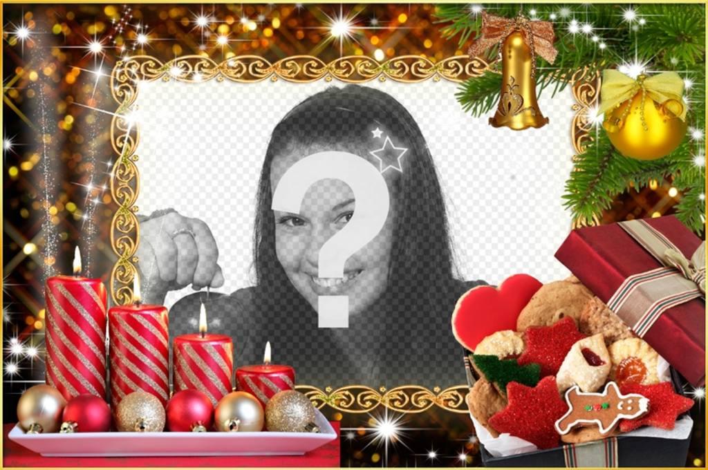 Cadre photo de Noël avec quatre bougies et couronnes de Noël