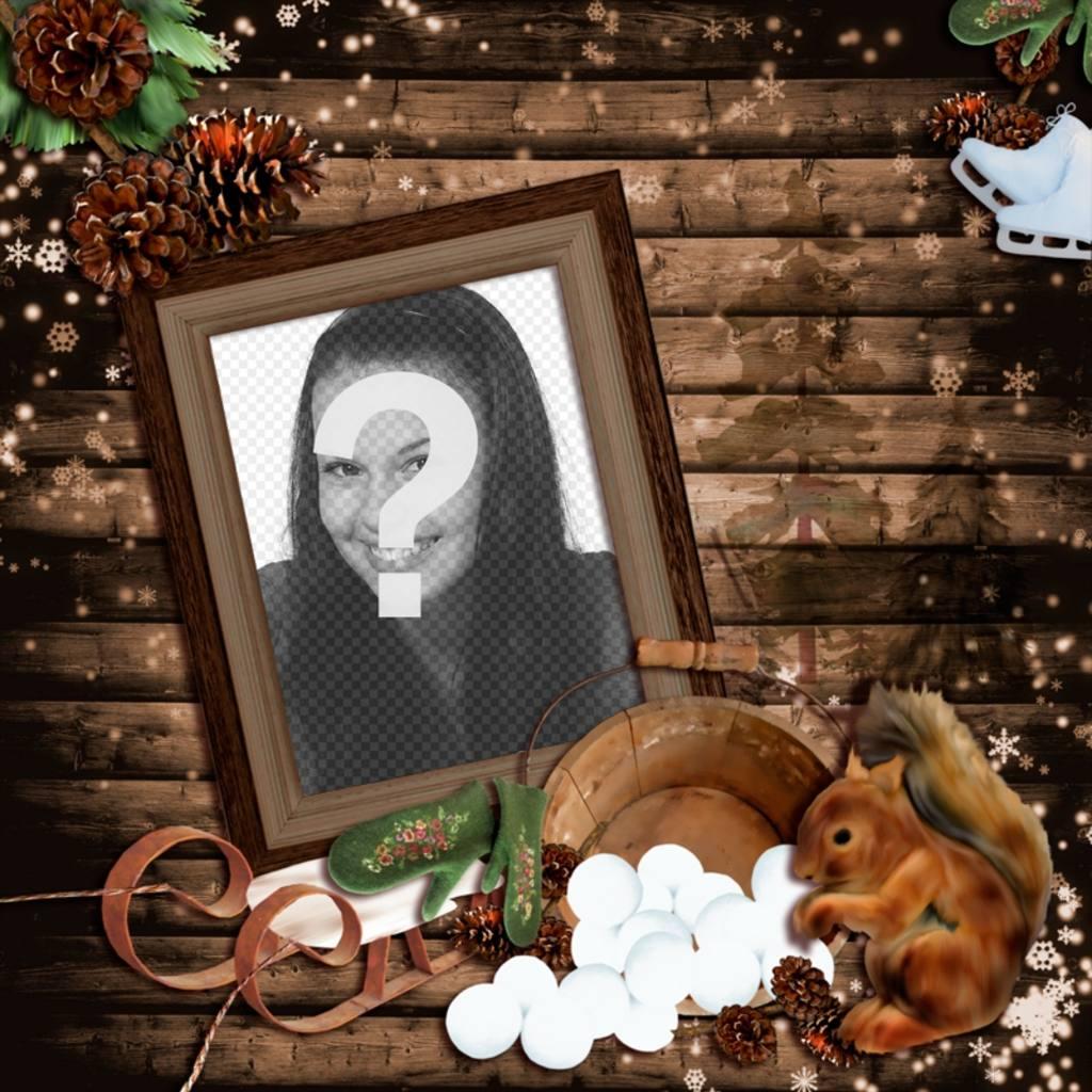 photomontage de l hiver avec un cadre photo en bois d cor e avec un tra photoeffets. Black Bedroom Furniture Sets. Home Design Ideas