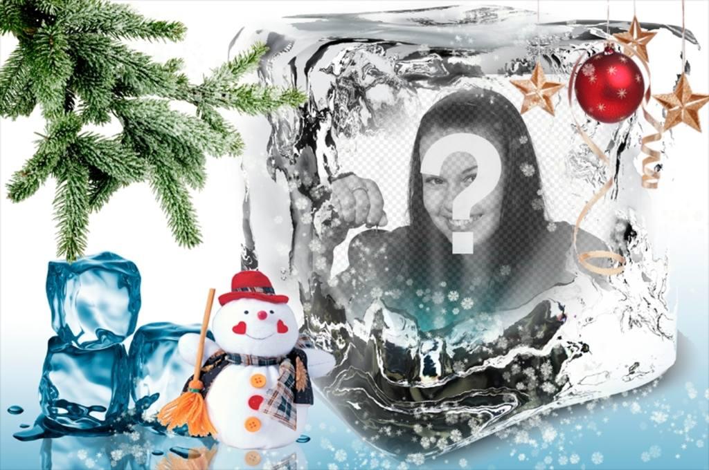 Modèle de Noël pour mettre votre photo sur un cube de glace. photomontages