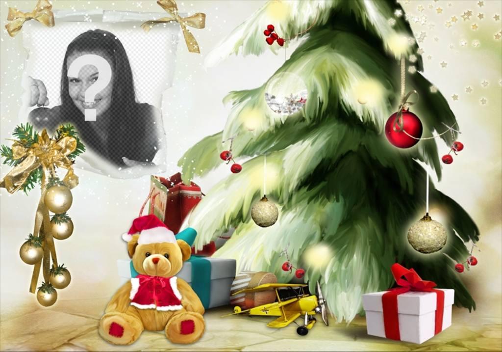 Photomontage de Noël avec un arbre de Noël et ours