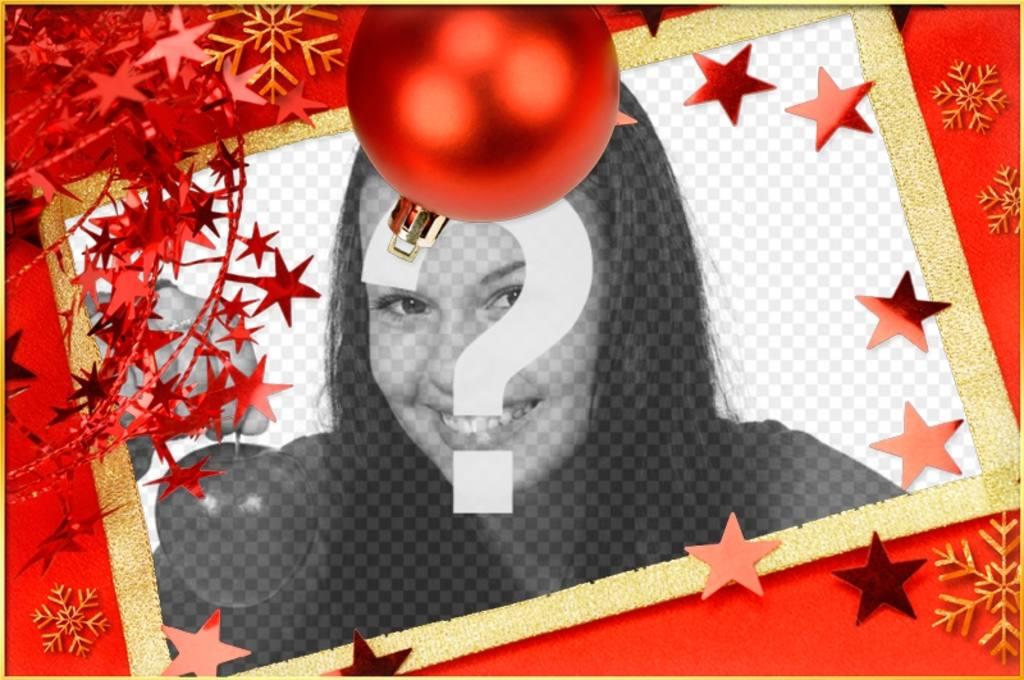 Carte de Noël avec une boule rouge et les étoiles pour personnaliser. carte